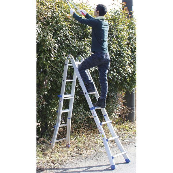 【送料無料】アルミ製伸縮式はしご兼用脚立ブルー【代引不可】