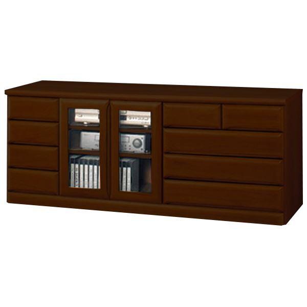 【送料無料】天然木多サイズリビングボード/リビング収納棚 【幅150.5cm×奥行30cm×高さ61cm】 ダークブラウン