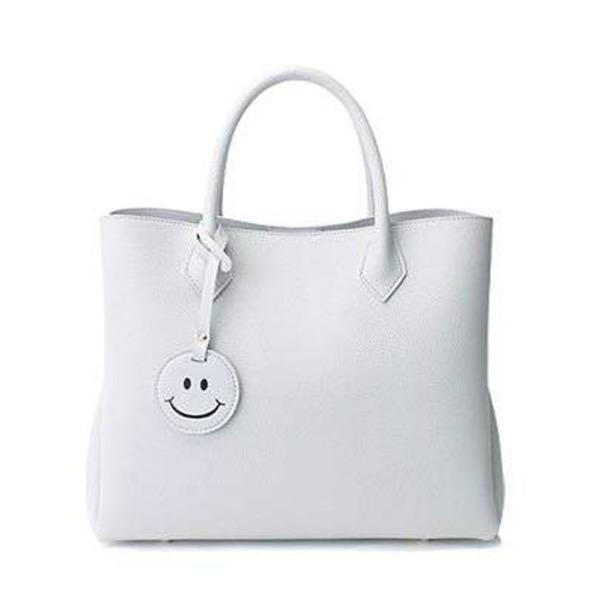 【送料無料】スマイルチャーム付!仕切りポケットタイプのトートバッグ/ホワイト
