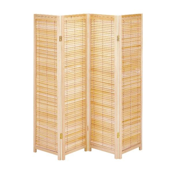 【送料無料】木製ブラインドパーテーション4連 ナチュラル