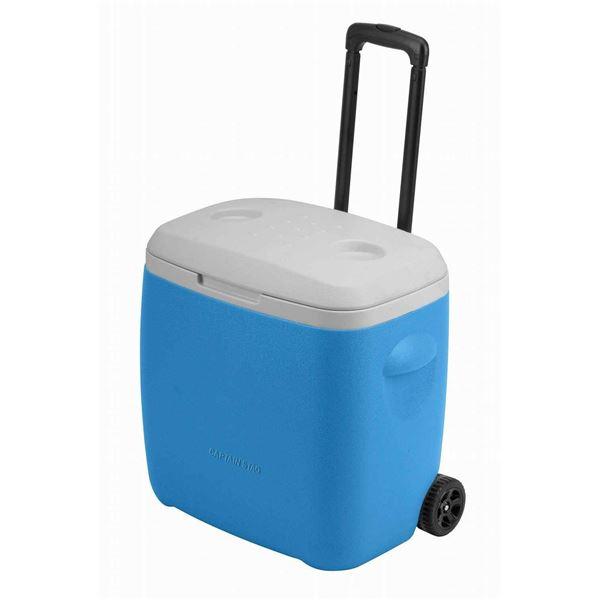 【送料無料】【キャプテンスタッグ】 クーラーボックス/保冷ボックス 【28L】 ライトブルー タイヤ付き 『リガード ホイールクーラー』