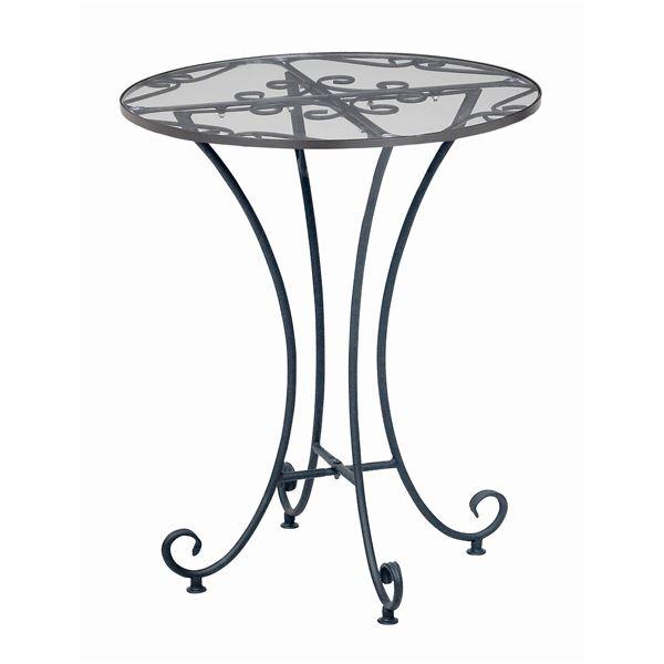 【送料無料】強化ガラスラウンドテーブル 直径60cm スチールフレーム アジャスター付き 『Del Sol』 アンティーク調