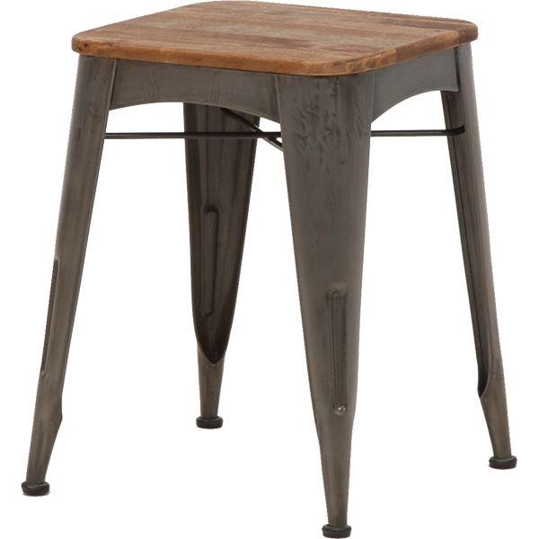 【送料無料】デザインスツール(ロースツール/腰掛け椅子) 高さ48cm 木製×スチールパイプ リベルタシリーズ【代引不可】