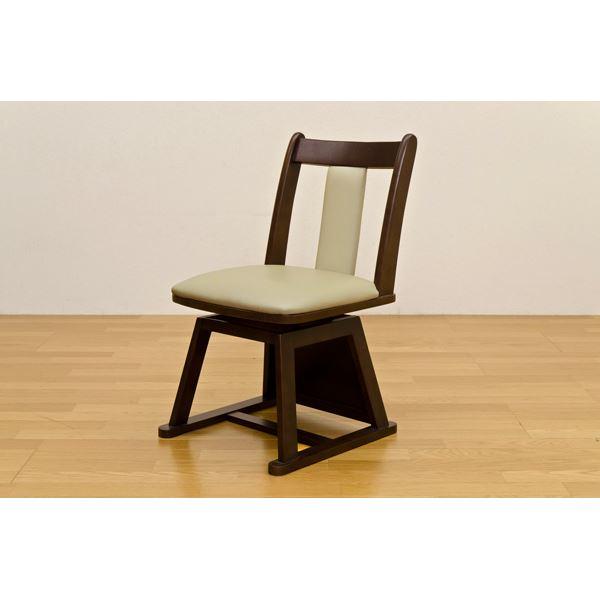 【送料無料】360度回転するダイニングこたつ用チェア/回転椅子 【2脚セット】 ブラウン 張地:合成皮革(合皮) 天然木フレーム【代引不可】