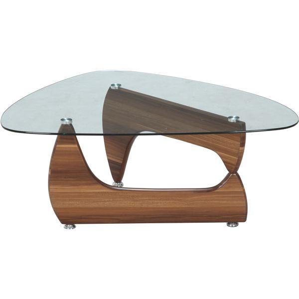 【送料無料】ガラス製センターテーブル/ローテーブル 【ライトウォルナット】 幅100cm 強化ガラス製天板 『ルーク』【代引不可】