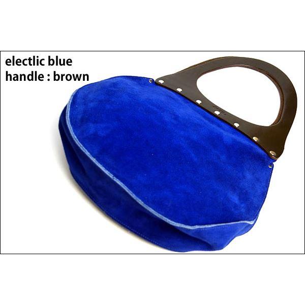 【送料無料】★dean(ディーン) round machine ハンドバッグ elctlic blue(青) ハンドル/茶