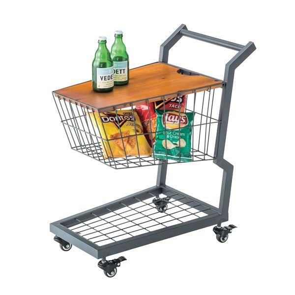 【送料無料】ショッピングカート型サイドテーブル/ミニテーブル 【幅36cm】 スチール×木製 収納/キャスター付き PW-405