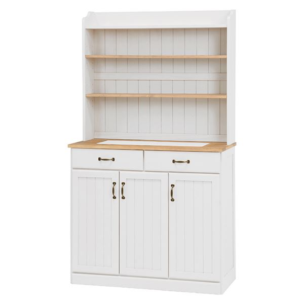 【送料無料】キッチンカウンター/キッチン収納 【幅87cm】 木製 棚/高さ調節可 カントリー調 ナチュラルアイボリー【代引不可】