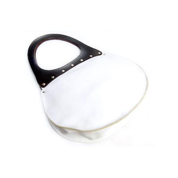 【送料無料】★dean(ディーン) round machine ハンドバッグ 白 ハンドル/茶
