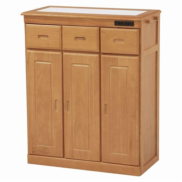 【送料無料】キッチンカウンター/キッチン収納 【幅72cm/ナチュラル】 木製 タイル天板 二口コンセント/キャスター付き 【代引不可】