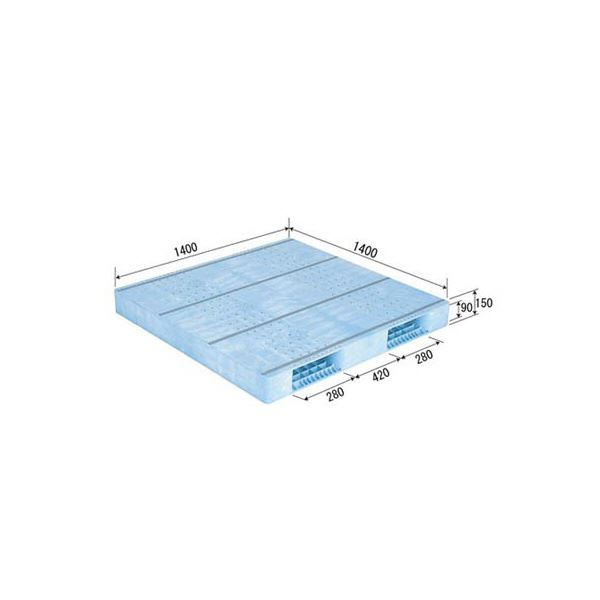 【送料無料】三甲(サンコー) プラスチックパレット/プラパレ 【両面使用型】 段積み可 R2-1414F PP ライトブルー(青)【代引不可】
