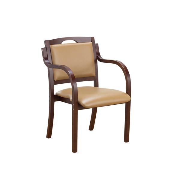 【送料無料】立ち座りサポートダイニングチェア/椅子 【ダークブラウン】 肘付き 張地:合成皮革/合皮 スタッキング可【代引不可】