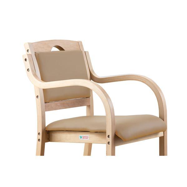 【送料無料】立ち座りサポートダイニングチェア/椅子 【ナチュラル】 肘付き 張地:合成皮革/合皮 スタッキング可【代引不可】