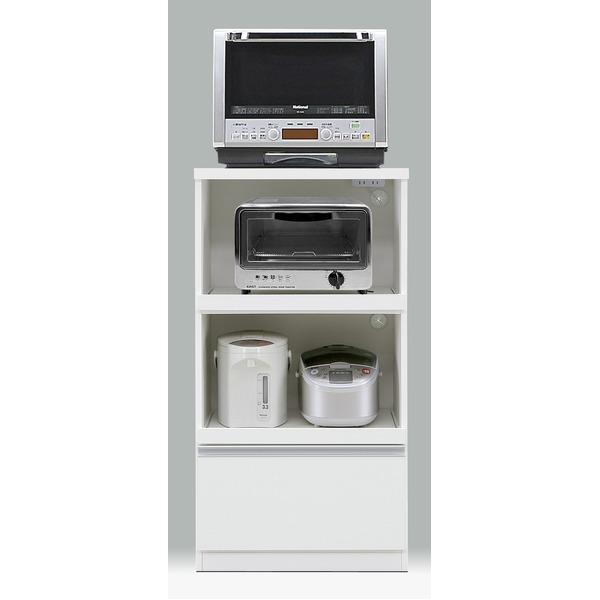 【送料無料】レンジ台/キッチン収納 【引き出しタイプ/幅60cm】 ホワイト 『フィットII型』 二口コンセント/スライドレール付き【代引不可】