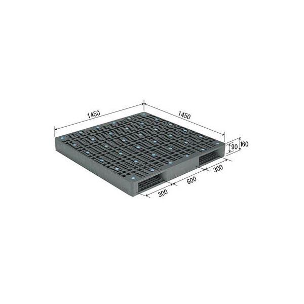 三甲(サンコー) プラスチックパレット/プラパレ 【両面使用型】 段積み可 R2-145145 グレー(灰)【代引不可】