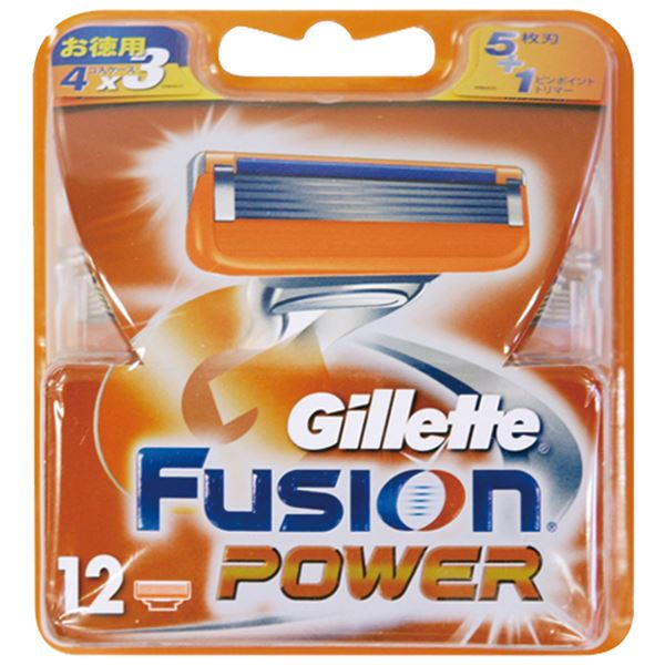 【送料無料】ジレット フュージョン5+1パワー替刃12B × 4 点セット