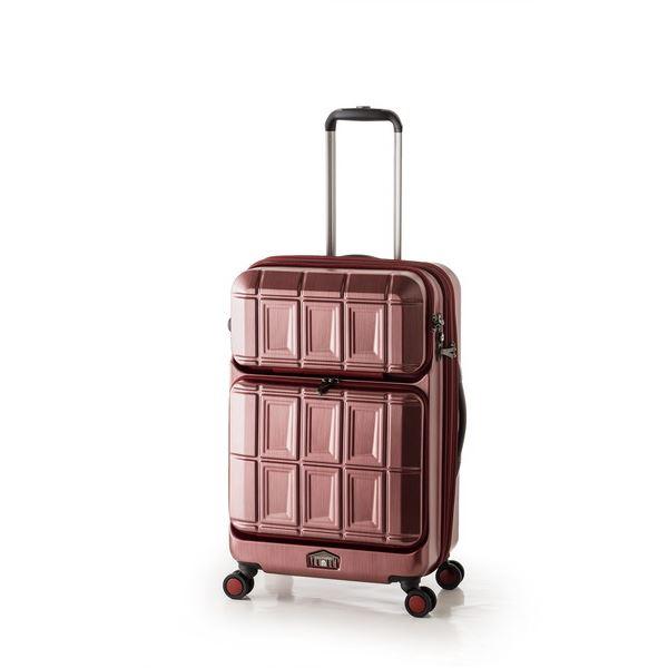 【送料無料】スーツケース 【マットブラッシュレッド】 拡張式(54L+8L) ダブルフロントオープン アジア・ラゲージ 『PANTHEON』