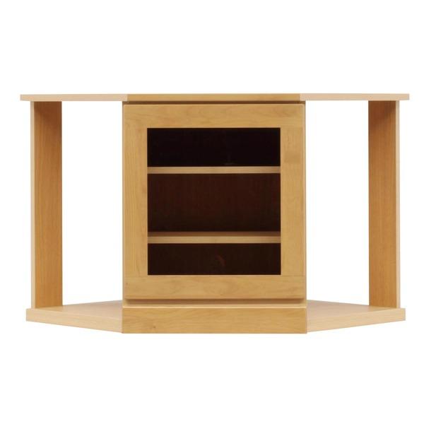 4段コーナー家具/リビングボード 【幅75cm】 木製(天然木) 扉収納付き 日本製 ナチュラル 【完成品】【玄関渡し】【代引不可】