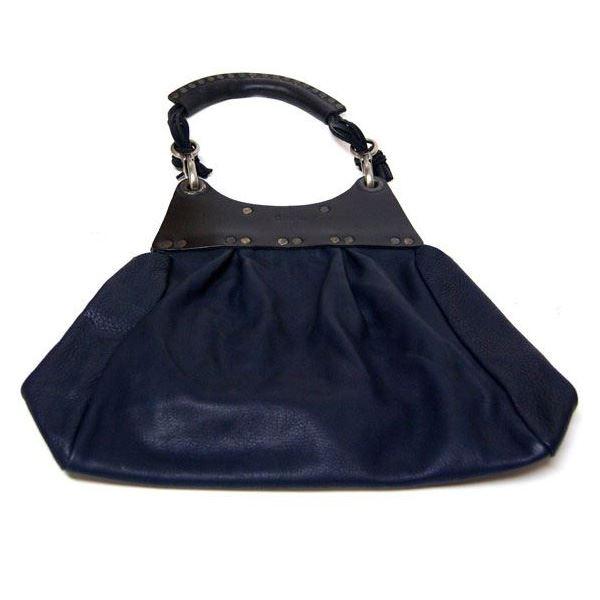 【送料無料】★dean(ディーン) pleated bag レザーショルダーバッグ ネイビー ハンドル/黒