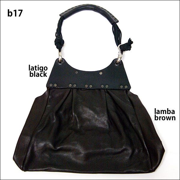 【送料無料】★dean(ディーン) pleated bag レザーショルダーバッグ 黒 ハンドル/黒