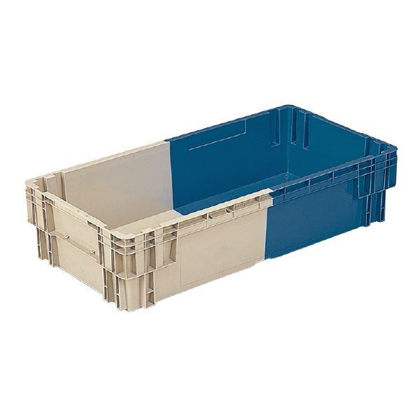【送料無料】(業務用3個セット)三甲(サンコー) SNコンテナ/2色コンテナボックス 【Nタイプ】 水抜孔有 #122 Aグレー×ブルー 【代引不可】