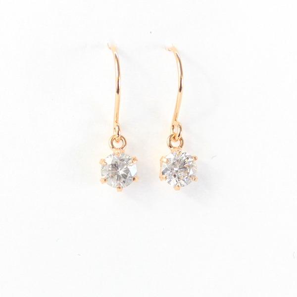 【送料無料】18金 ピンクゴールド 0.25ct ダイヤモンド フックピアス【代引不可】