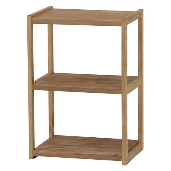 【送料無料】オープンラック/収納棚 【2段】 木製 幅45cm×奥行28cm 木目調 ライトブラウン 【代引不可】