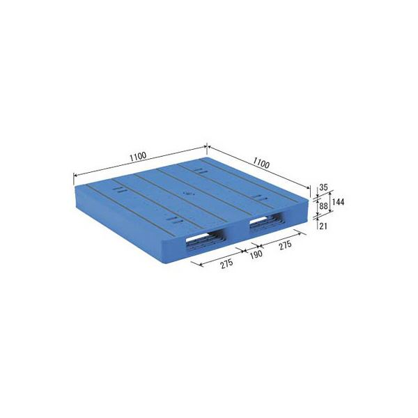 【送料無料】三甲(サンコー) プラスチックパレット/プラパレ 【片面使用タイプ】 軽量 LX-1111D2-2 ブルー(青)【代引不可】
