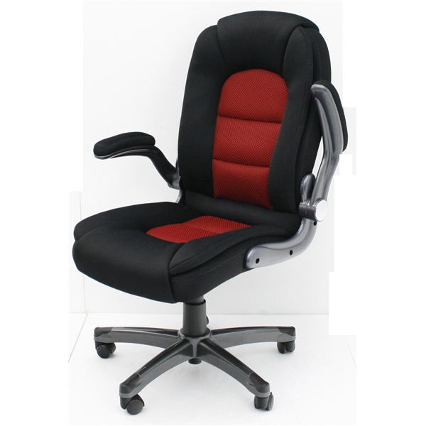 【送料無料】オフィスチェア(パソコンチェア/パーソナルチェア) 昇降式 高さ調節可 キャスター/肘付き ブラック&レッド
