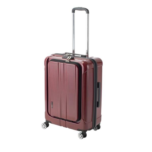 【送料無料】フロントオープン スーツケース/キャリーバッグ 【レッドヘアライン】 60L Mサイズ 『アクタス ポライト』【代引不可】