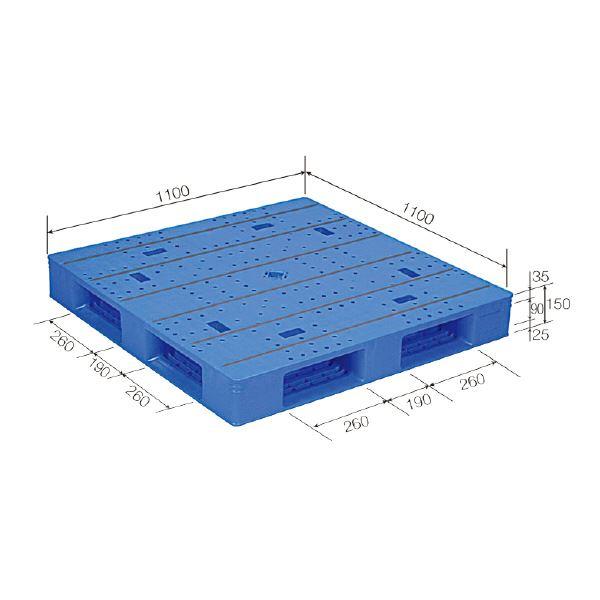 【送料無料】三甲(サンコー) プラスチックパレット/プラパレ 【片面使用タイプ】 軽量 LX-1111D4-2(PP) ブルー(青)【代引不可】