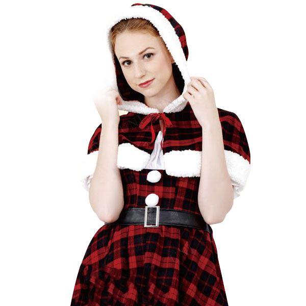 【送料無料】クリスマスコスプレ/衣装 【Plaid Hood Santa プレイドフードサンタ】 レディース 『CLUB QUEEN』 〔イベント パーティー〕