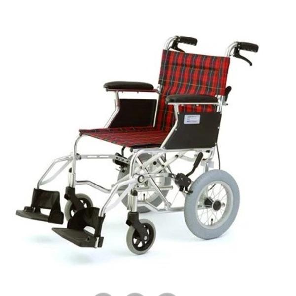 介助式折りたたみ車椅子 ミニポン/チェックレッド(赤) アルミ製 軽量コンパクトタイプ 【MIWA】 ミワ HTB-12【代引不可】