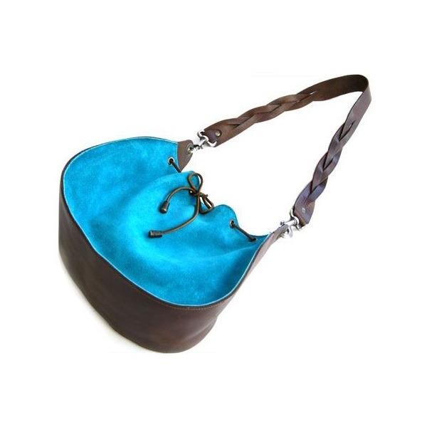 【送料無料】★dean(ディーン) round shoulder bag w/drawstring レザーバッグ ターコイズ ハンドル/茶
