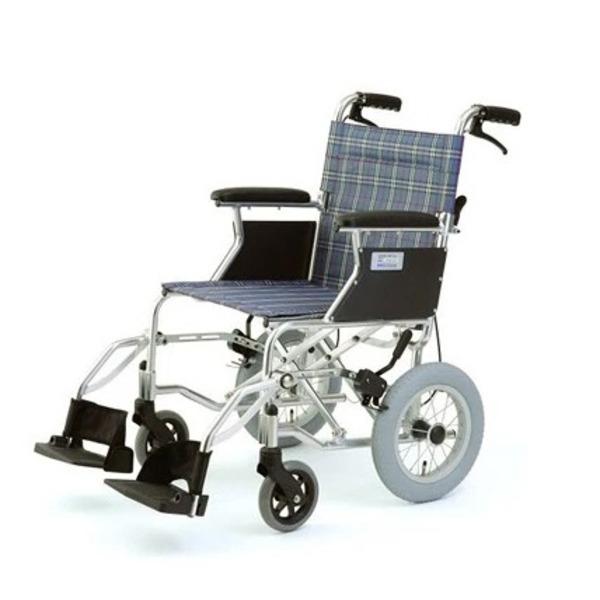 【送料無料】介助式折りたたみ車椅子 ミニポン/チェックブルー(青) アルミ製 軽量コンパクトタイプ 【MIWA】 ミワ HTB-12【代引不可】