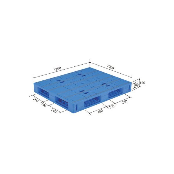 【送料無料】三甲(サンコー) プラスチックパレット/プラパレ 【両面使用タイプ】 軽量 LX-1012R4(PE) ブルー【代引不可】