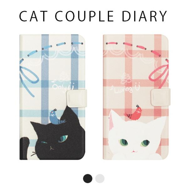 Happymori iPhone X Cat Couple Diary ホワイト:ワールドデポ