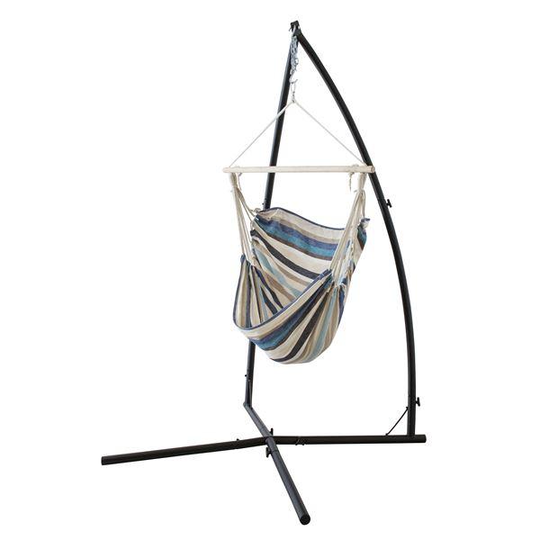 【送料無料】ハンモックチェア/揺り椅子 【ブルー】 スチールフレーム RKC-538BL 〔アウトドア キャンプ お庭〕