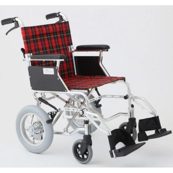 【送料無料】介助式車椅子 チェックレッド(赤) アルミ製 バンドブレーキ仕様/軽量コンパクトタイプ 【MIWA】 ミワ HTB-12D【代引不可】