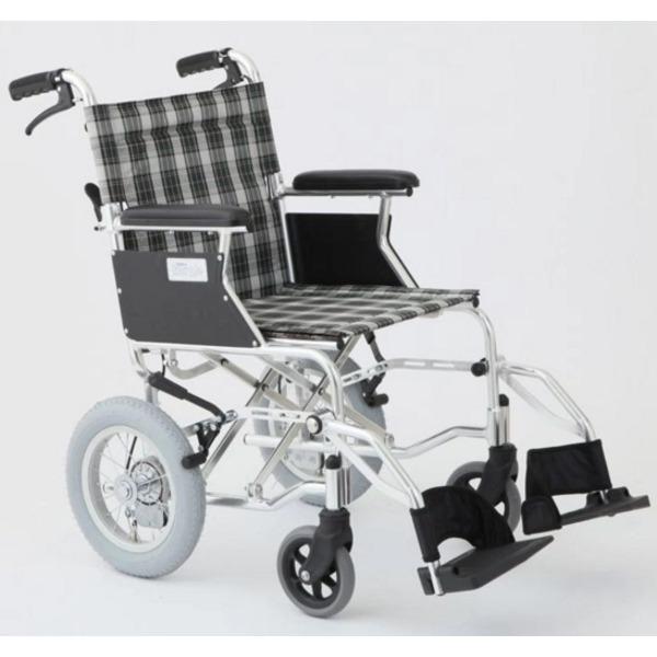【送料無料】介助式車椅子 チェックグリーン(緑) アルミ製 バンドブレーキ仕様/軽量コンパクトタイプ 【MIWA】 ミワ HTB-12D【代引不可】