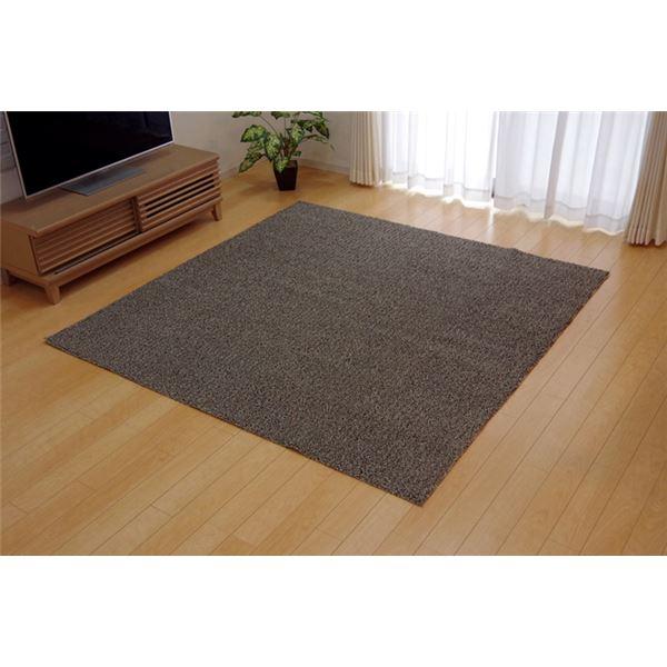 【送料無料】ラグマット カーペット 3畳 洗える タフト風 『ノベル』 ベージュ 約140×340cm 裏:すべりにくい加工 (ホットカーペット対応)