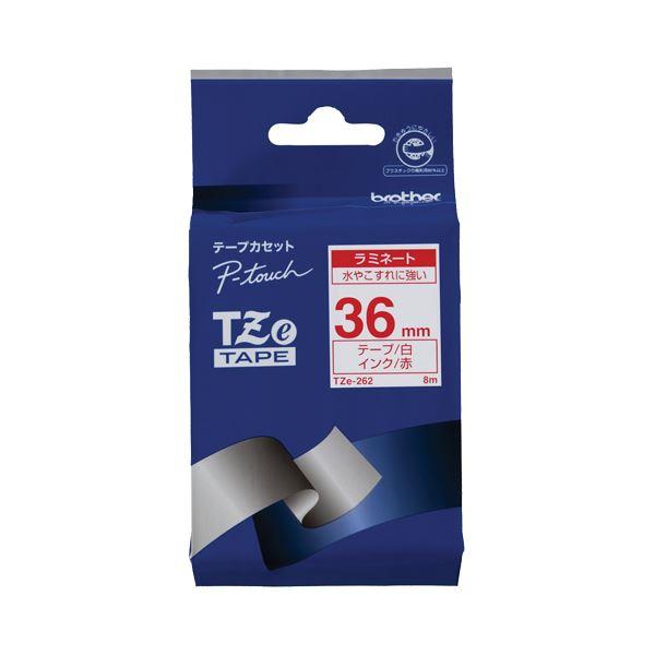 【送料無料】(まとめ) ブラザー BROTHER ピータッチ TZeテープ ラミネートテープ 36mm 白/赤文字 TZE-262 1個 【×4セット】