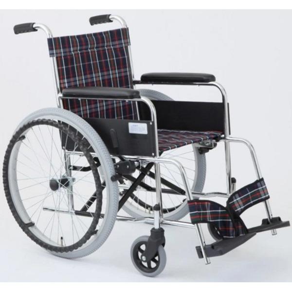 【送料無料】自走式折りたたみ車椅子 リーズ/チェックネイビー(紺) 背面ポケット付き 【MIWA】 ミワ MW-22ST【代引不可】