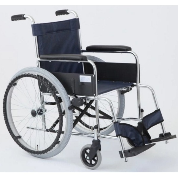 【送料無料】自走式折りたたみ車椅子 リーズ/レザーネイビーブルー(紺) 背面ポケット付き 【MIWA】 ミワ MW-22ST【代引不可】