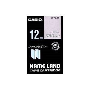【送料無料】(業務用50セット) カシオ CASIO 白文字テープ XR-12AX 透明に白文字 12mm