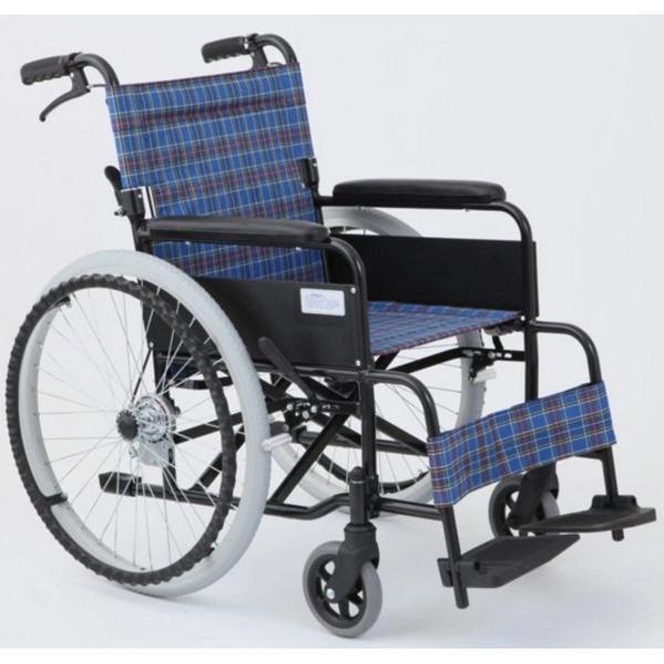 【送料無料】自走/介助折りたたみ車椅子 アミー22/ターコイズブルー(青) アルミ製 持ち手付き 【MIWA】 ミワ MW-22AII【代引不可】