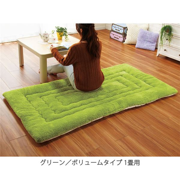【送料無料】ふっかふか ラグマット/絨毯 【グリーン ボリュームタイプ 4畳用 200cm×290cm】 長方形 ホットカーペット 床暖房可