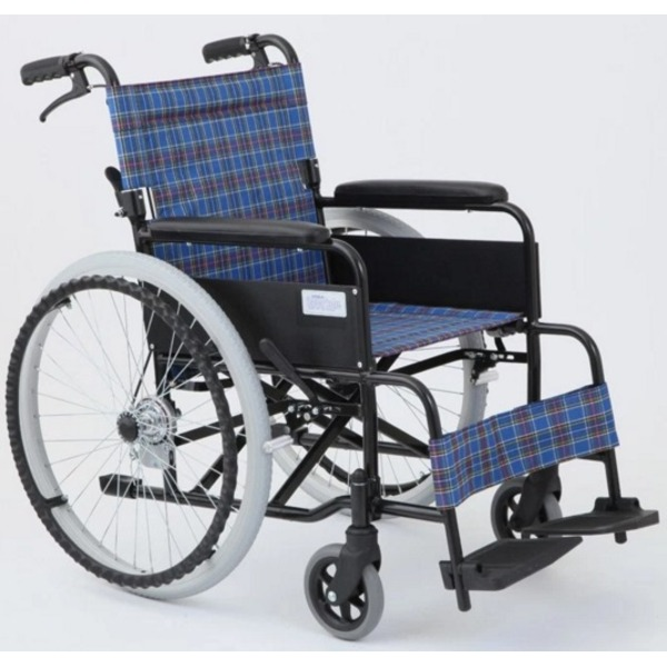 【送料無料】自走/介助折りたたみ車椅子 アミー22/ターコイズブルー(青) アルミ製 ノーパンク仕様/持ち手付き 【MIWA】 ミワ MW-22AIIN【代引不可】