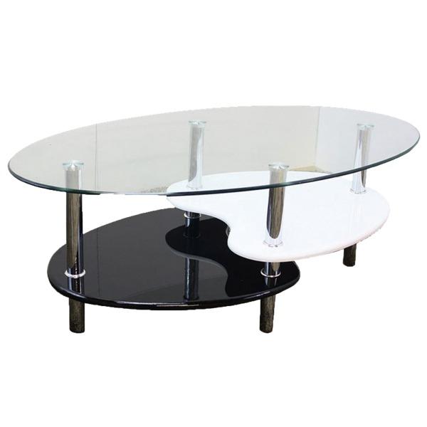 【送料無料】強化ガラステーブル(ローテーブル) 高さ43cm 棚収納/アジャスター付き ブラック(黒)& ホワイト(白)【代引不可】