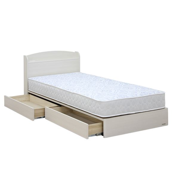 【送料無料】日本製 引き出し付き 宮付き シングルベッド 5.5ポケットコイルマットレス(ソフト)付き ホワイト 『ミルキー』【代引不可】